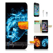 """iPhone 6 (4.7"""") Print Flip Wallet Case Cover! Ice and Fire Flame Abstract P0082"""