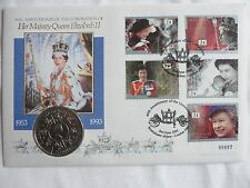 Mercury 1993 - 40th Anniversary of Coronation -  £5 BU Coin First Day Cover/PNC