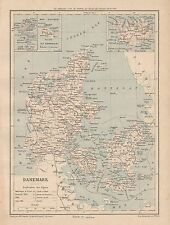 C9101 Danemark - Cartina geografica antica - 1892 antique map