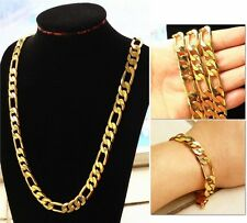 "10MM Real 18k Gold filled Men's Figaro Bracelet + necklace 23.6"" Chain Set Gift"