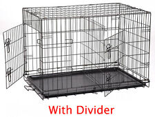 """Large 42"""" Divider Folding Pet Dog Animal Cage Crate Kennel With Plastic Pan 258"""