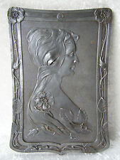 ANTIQUE GROSSES JUGENDSTIL ART NOUVEAU RELIEF EISEN EISENGUSS FRAU DAME METALL
