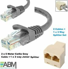 2 x 5M CAT5e Ethernet Network RJ45 Internet LAN Cable +1 X 3 Way RJ45 Y Splitter