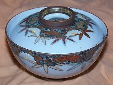 Japanese Meiji Signed Kutani Imari Porcelain Gilted & Enameled Covered Rice Bowl