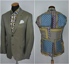 Etro Milano Mens Blazer size 38R Silk Linen Suit Jacket gr. 48 Beige Black Check