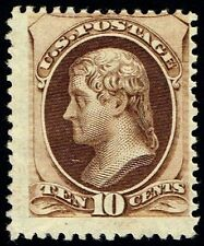 US Sc# 161 *MINT OG H* { 10c BROWN JEFFERSON } SECRET MARK OF 1873 CV$ 1,000.00