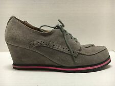 Isaac Mizrahi New York Gray Suede Lace-up Oxford Wedges Shoes Size 7.5 M
