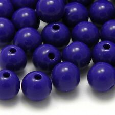 Lot of 100 Plastic Acrylic 8mm Round Solid Opaque Colored Beads with 2mm Hole
