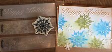 Stampin Up retired SNOWFLAKE stamp & 3 Merry Christmas Border Embossing folders
