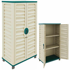 OUTDOOR STORAGE PLASTIC UTILITY CABINET GARDEN GARAGE HOUSE SHED PATIO TOOLS NEW