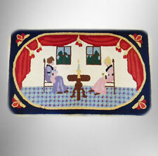 Hand made hook rug - all wool - colonial scene - FREE SHIPPING