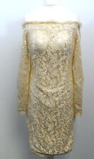 Izidress - Gold off shoulder lacy dress Small BOX7374 H