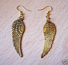 FAB LARGE GOLD ANGEL WING EARRINGS PIERCED OR CLIP