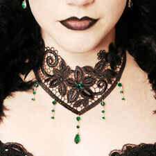 Emerald green Victorian steampunk lace Choker goth gothic necklace