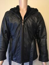 Mint Wilsons black fur Lined leather coat jacket Size S-M-L Hooded Mens Womens
