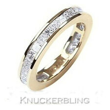 Genuine Diamond Ring 2.20ct Princess Cut F VS1 18ct Gold Eternity Wedding Ring