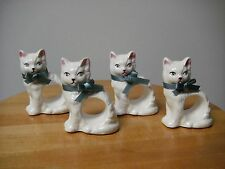 SALE !!! Vintage Set of 4 RGD 1983 Fine Ceramic Cat Napkin Rings COLLECTABLE SET