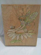 Fairy on Daisy Flower #80089 Large STAMPS HAPPEN Rubber Stamp