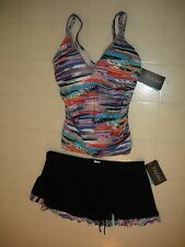 Profile Gottex Venice Beach 2 PC Skirted Tankini Swimsuit Sz 12  38D Cups NWT