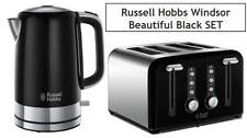 Kettle and Toaster Set RUSSELL HOBBS Windsor 4-Slice WIDE SLOT BLACK BRAND NEW