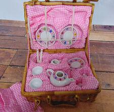 DELTON 12 Pc CHILDRENS Porcelain TEA PLAY SET & BASKET Teapot Cups Plates Spoons