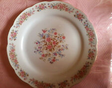 """Remington Fine China Dinner Plate,10.5"""" Pink & Blue Flowers, Gold Scalloped Edge"""