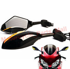 BLACK MOTORCYCLE LED TURN SIGNAL REARVIEW MIRRORS FOR Honda VTR 1000 F FireStorm