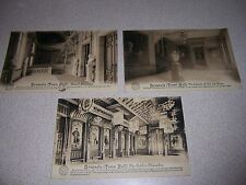 1910s BRUSSELS TOWN HALL INTERIOR POSTCARDS - GOTHIC CHAMBER STAIRCASE VESTIBULE