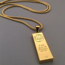 "30""inch Mens 24K Gold Planted God Bar Pendant Necklace Iced Out Hip Hop Chain"