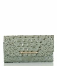 NWT Brahmin Soft Checkbook Wallet,Trifold Clutch Silver Sage,Gray Green $175