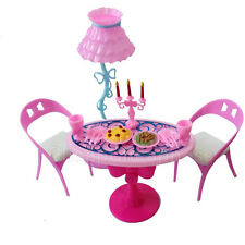 lot of House Furniture for Barbie  Dining Table Chair LampSet