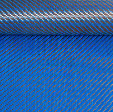 Reversible CARBON Fibre Cloth Blue KEVLAR Fabric Material 3x1 Twill 127cm x 28cm