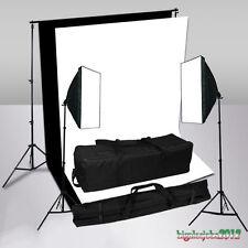 Kit Luci Illuminazione Studio Fotografico Lampada Softbox Fondale Bianco Nero IT
