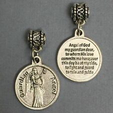 Guardian Angel Protection Medal Pendant with Prayer Catholic Silver Tone 3/4""
