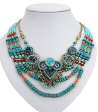 Statement Necklace gold turquoise orange red purple by Ella Jonte Ibiza Style
