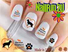"RTG Set#132M DOG BREED ""German Shepherd MOM"" WaterSlide Decals Nail Art Transfer"