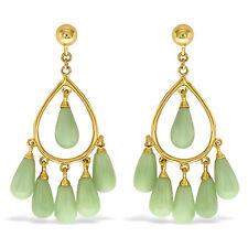 Designer 10K Solid Yellow Gold with Jade Gemstones Chandelier Earrings