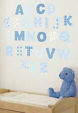NEW FunToSee™ Wall Stickers Boys Bedroom Nursery Alphabet Letters BLUE ����