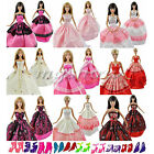 15 Items=5 Pcs Fashion Wedding Gown Dresses & Clothes 10 Shoes for Barbie Doll R