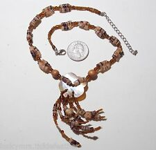 Necklace w/Mother of Pearl Flower Pendant/Tassel, Brown/Black/Amber Glass Beads