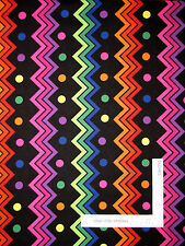 Multi Color Chevron Stripe Cotton Fabric Zig Zag Black RJR Jungle Things - Yard