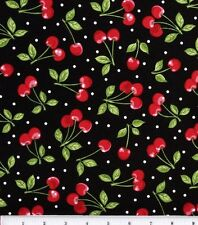 Dots and Cherries on Black Cotton Fabric ~ by the HALF YARD