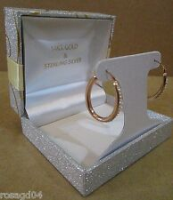 14K Rose Gold & Sterling Silver Loop Earrings Set With Swarovski Elements! NEW