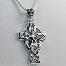 Large Celtic Claddagh Cross Necklace - 925 Sterling Silver - Claddagh Pendant CZ