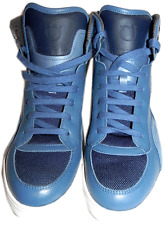 $595 SALVATORE FERRAGAMO High Top Blue Sport Trainers Sneakers Shoes 9.5 D