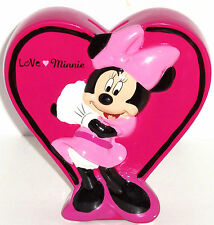 Disney Minnie Mouse Coin Money Bank Ceramic Hot Pink Heart  Valentines Day