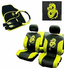 15PC DRAGON STYLE UNIVERSAL FULL CAR SEAT COVER SET YELLOW GREEN PINK WASHABLE