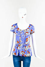 Etro NWT Purple Orange Gray Stretch Jersey Floral Print Pleated SS Top SZ 40