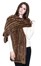 NWT Belle Fare Copper Brown Rex Rabbit Fur Cashmere and Wool Woven Scarf/Wrap