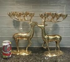 PAIR Pottery Barn Solid Brass Deer Reindeer Candle Holder Heavy Retired
